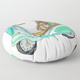 Watercolor Vespa Scooter With Basket Of Flowers Floor Pillow