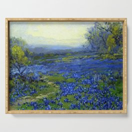 Meadow of Wild Blue Irises, Springtime by Maria Oakey Dewing Serving Tray
