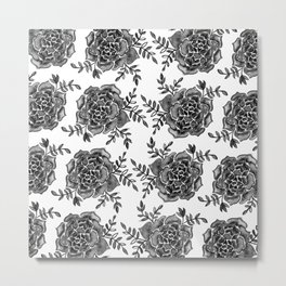 Watercolor houseleek - black and white Metal Print