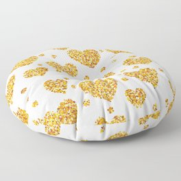 Gold glitter hearts pattern Floor Pillow