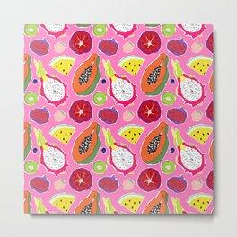Seedy Fruits in Hot Neon Pink Metal Print