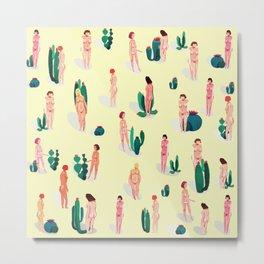 naked girls and cactus Metal Print