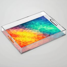 Abstract Polygon Multi Color Cubism Low Poly Triangle Design Acrylic Tray