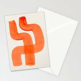 Mid Century Modern Abstract Minimalist Abstract Vintage Retro Orange Watercolor Brush Strokes Stationery Cards