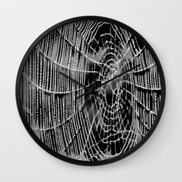 Black and White Spiders Web Wall Clock