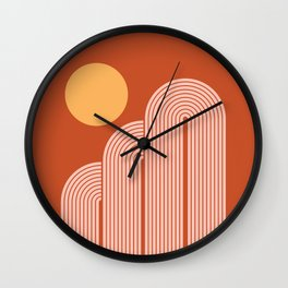 Geometric Lines in Terracotta Rose Gold 14 (Rainbow, Sunrise and Mountains Abstraction) Wall Clock