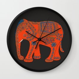 Lucky Elephant Red Wall Clock