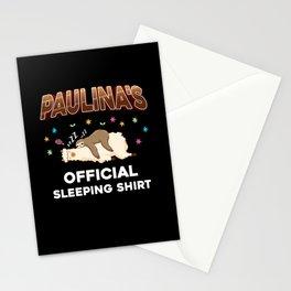 Paulina Name Gift Sleeping Shirt Sleep Napping Stationery Cards
