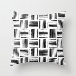 Sideways Stripes - Black Mudcloth Pattern Throw Pillow