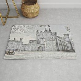 Ireland Kikenny Castle Artistic Illustration Pencil Style Rug
