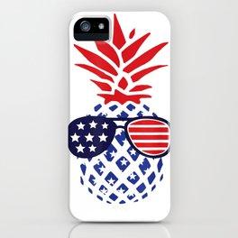 Hawaiian Pineapple American Flag Sunglasses 4th of July Gift T-Shirt iPhone Case