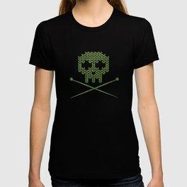 Knitted Skull - White on Olive Green T-shirt