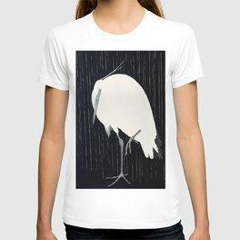 Egret standing in rain - Japanese vintage woodblock print T-shirt