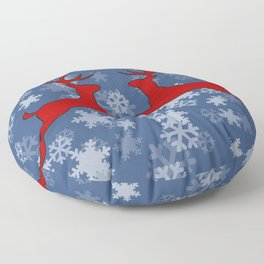 Jumping Reindeer red snowflakes blue and white Floor Pillow