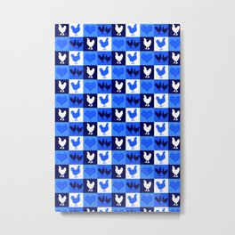 Blue and White American Chickens Gingham Metal Print