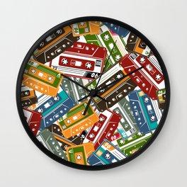 Vintage cassette tape in colour hand drawn vintage illustration pattern Wall Clock