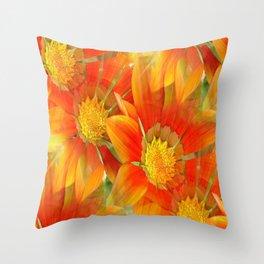 Seamless Pattern Of Vibrant Orange Gazania Flower Throw Pillow