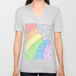 Dotty Rainbow and Swirly Cloud Unisex V-Neck