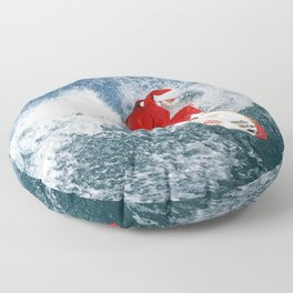 Holiday Christmas Surfing Floor Pillow
