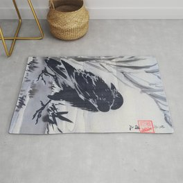 Kawanabe Kyosai - Crow And Reeds By A Stream - Digital Remastered Edition Rug