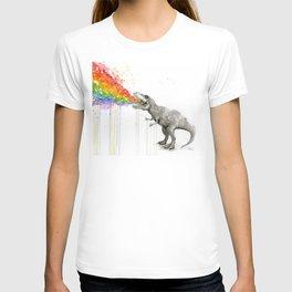 T-Rex Dinosaur Rainbow Puke Taste the Rainbow Watercolor T-Shirt