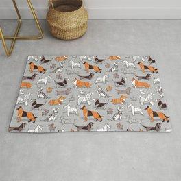 Origami doggie friends // grey linen texture background Rug