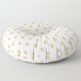 Gold Metallic Faux Foil Photo-Effect Bees on White Floor Pillow