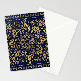 Oriental Damask Ornament - Gold on dark blue #3 Stationery Cards