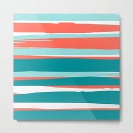 Colorful Stripes, Coral, Teal and Aqua Metal Print