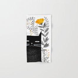 black cat with botanical illustration Hand & Bath Towel