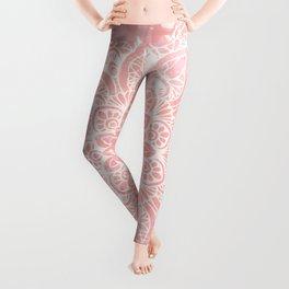 Mandala, Yoga Love, Coral, Wall Art Boho Leggings