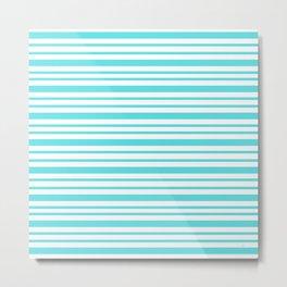 Turquoise Stripe Retro Inspired - Nadia Bonello Metal Print