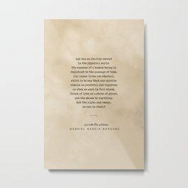 Gabriel Garcia Marquez Quote 01 - Typewriter Quote on Old Paper - Minimalist Literary Print Metal Print