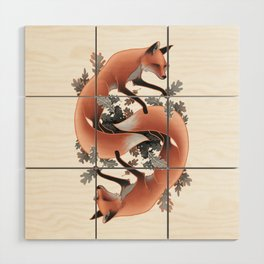 Foxes Chasing Tails Wood Wall Art