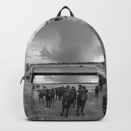 Hanging Out - Black and White Photo of Cows in Kansas Backpack