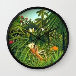 "Henri Rousseau ""Jaguar Attacking a Horse (In the bushes)"" Wall Clock"