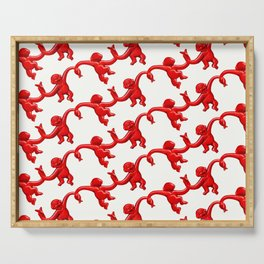 Monkey Toy Pattern - Red Serving Tray