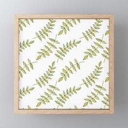 Feuilles on White Framed Mini Art Print