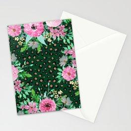 Elegant Leopard Print & Pink Floral Green design Stationery Cards