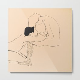 Egon Schiele - Lovers Metal Print