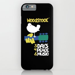Woodstock 1969 - black background iPhone Case
