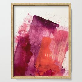 Blushing: a vibrant, minimal abstract in purple, pink, and red Serving Tray