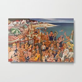 Old Hollywood Icons at Malibu Beach, California portrait painting by Miguel Covarrubias Metal Print