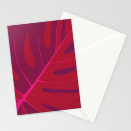 Only One Monstera Leaf in Red And Purple Colors #decor #society6 #buyart Stationery Cards