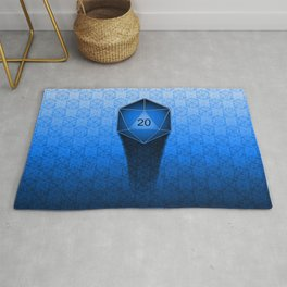 D20 All I Do Is Crit!  Blue Ombre Rug