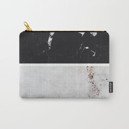 Black Marble & White Glitter Marble #1 #decor #art #society6 Carry-All Pouch
