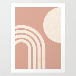 Mid Century Modern Dust Pink Sun & Rainbow Art Print
