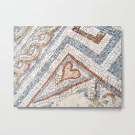 Mosaic Heart | Cute Red Blue and White Tile Old World Charming Decorative Cool Stone Photograph Metal Print