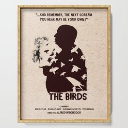 The Birds Hitchcock silhouette art Serving Tray