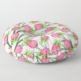 Summer tropical pink green watercolor pineapple floral Floor Pillow